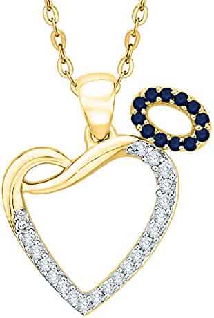 1//6 cttw, J-K, SI2-I1 KATARINA Diamond and Gemstone Miracle Plate Angel Heart Pendant Necklace in 10k Gold