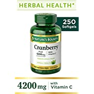Cranberry Pills w/Vitamin C by Nature's Bounty, Supports Urinary & Immune Health, 4200mg Cranberry Supplement, 250 Softgels