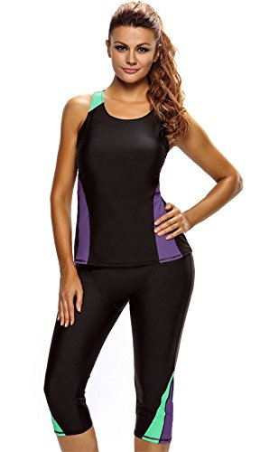 Arctic Cubic 2 PC Colorblock Padded Tankini Tank Top And Stretchy Cropped Pants Bottom Wetsuit Swimsuit Set Black Green Purple - Suit Sizing Wet