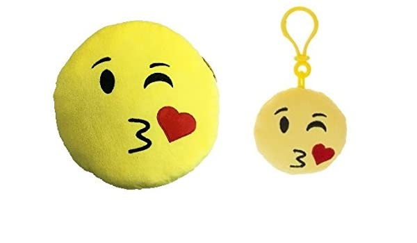 Icons - Pack llavero 8cm + Cojin amarillo redondo Emoticono ...
