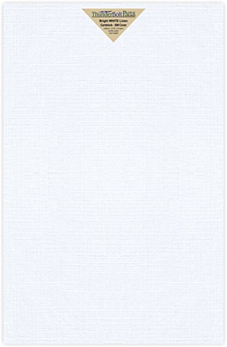 15 Bright White Linen 80# Cover Paper Sheets - 11