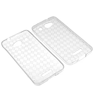 BW TPU Sleeve Gel Cover Skin Case for Verizon HTC Droid DNA ADR6435 -Clear Checker