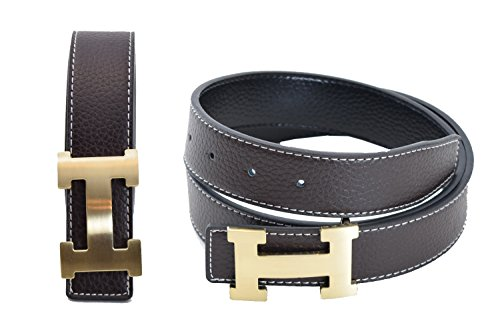 Dinamit Men's H Reversible Leather Belt With Removable Buckle Brown with Gold ()
