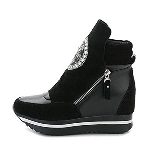 Sneakers Alte In Pelle Da Donna Con Zeppa Con Zeppa Casual A Punta Tonda Mocassini Con Tacco Nascosti Nero