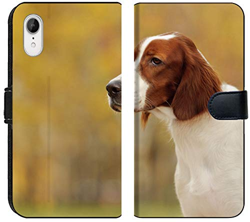 Luxlady iPhone XR Flip Fabric Wallet Case Image ID: 27152777 Portrait of a Irish red and White Setter Horizontal (Irish Red And White Setter For Sale)