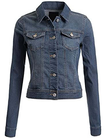 DOUBLDO Womens Classic Long Sleeve Chest Flap Pocket Denim Jacket -M-MED_BLUE (Fitted Jacket Juniors)