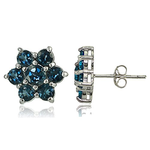 (Sterling Silver Genuine London Blue Topaz Flower Stud Earrings)