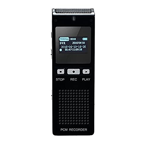 AGPtEK 8GB Digital Voice Activated Recorder Dictaphone MP3 Player, Double Microphone HD Recording,Professional for Lectures Meetings Interviews, etc, RP11, (Microcassette Storage)