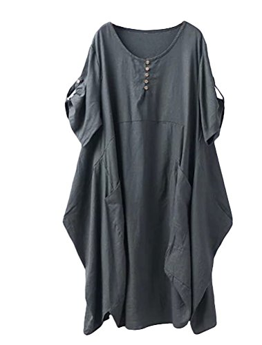 (Minibee Women's Ruffle Loose Casual Midi Dresses with Pockets Army Green L)