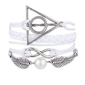 Romantic Vintage Handmade Multilayer Bracelets Bangles Harry Potter deathly hallows Leather Band Bracelet Cuff Women