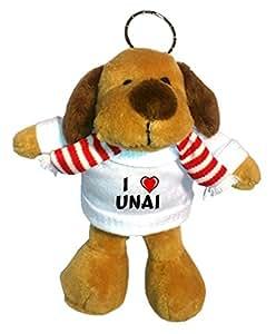 Perro de peluche (llavero) con Amo Unai en la camiseta (nombre de pila/apellido/apodo)