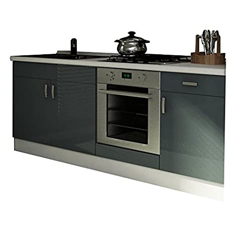 Base per cucina componibile modulare bianco e laccato grigio BS7103 ...