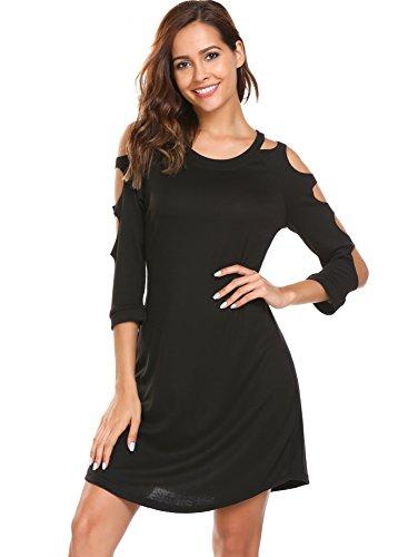 Tunic Dress,Elesol Women's 3/4 Sleeve Casual Cotton Flare Dress,Black,XL