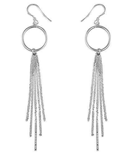 5640711d9ebb37 Sterling Silver Long Drop Tassel Earrings for Ladies: Amazon.co.uk:  Jewellery