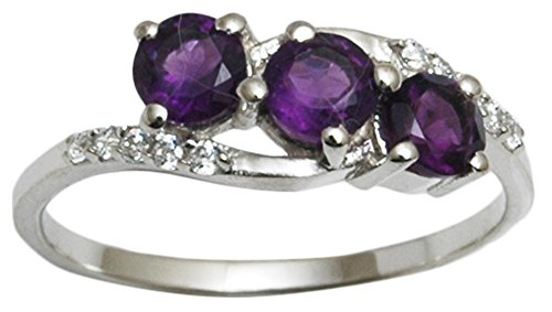 Banithani 925 Sterling Silver Amethyst Stone Finger Ring Charm Indian Fashion Jewelry from Banithani
