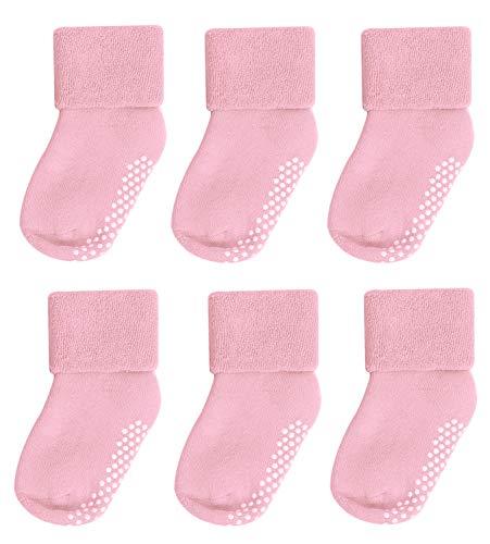 Socks for Toddler Boys,Mossio 6 Pack Multi Uniform Flat Socks 0-12 Months Pink 6pk Flat Quarter Socks