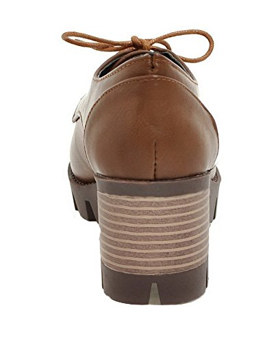 Allhqfashion Dames Lace-up Kitten-hakken Pu Stevige Ronde Gesloten Teen Pumps-schoenen Bruin