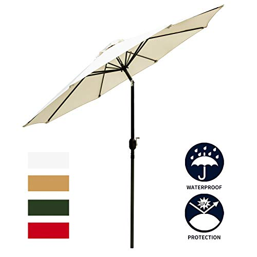Leisurelife White 9 Patio Umbrella Outdoor – Heavy Strong Patio Table Umbrellas,8 Sturdy Ribs,Tilt and Crank