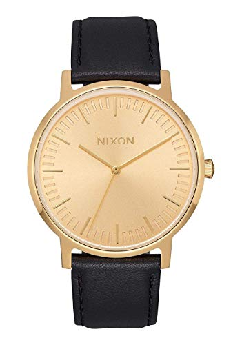 Nixon Men's 'Porter Leather' Quartz Stainless Steel Casual Watch, Color:All Gold Black(Model: A1058510)