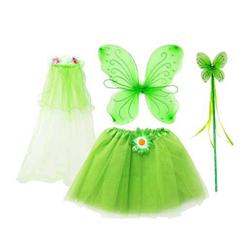 fedio 4Pcs Girls Princess Fairy Costume Set with Wings, Tutu, Wand and Floral Wreath Veil for Children Ages 3-6 (Green)