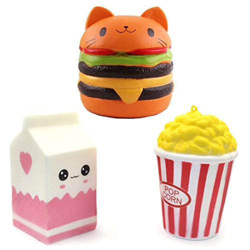 DLUcraft Slow Rising Squeeze Toy Pressure Relief Kids Toys Cream Scented Toys Stress Relief Toys Decorative Props(Milk Box Popcorn and Cat Hamburger-3 ()