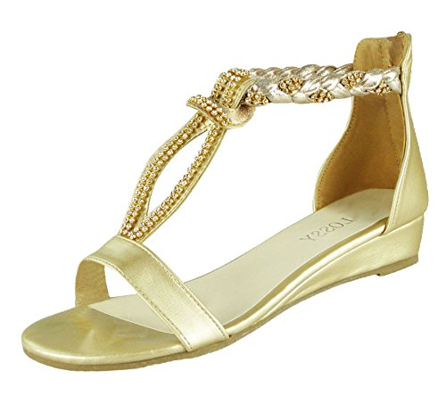 KOLLACHE Ladies Sandals Low Wedge Diamante Summer Womens Wedding Fancy Shoes Gold 9vfhe