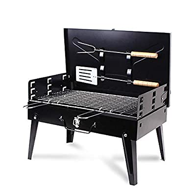 XIANGBAN Portable BBQ Charcoal Grill Set with Fork & Spatula - Small Barbeque Grills for Cooking Picnic Camping