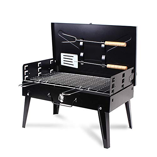 XIANGBAN Portable BBQ Charcoal Grill Set with Fork & Spatula – Small Barbeque Grills for Cooking Picnic Camping