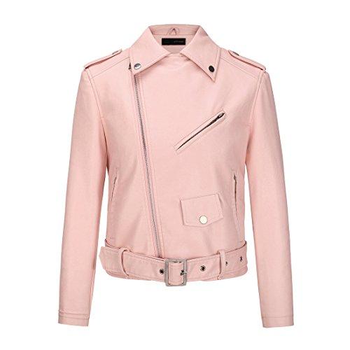 Pink Perfecto Motard en Blouson en avec Imitation Court de Printemps Ceinture YoungSoul Similicuir Veste Cuir Automne Femme pSTawAq