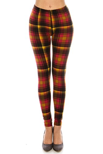 The Leggings Gallery Women's Printed Fashion Leggings Ultra Soft Solid & Patterned (Sunset Plaid, Plus) ()