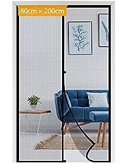 Yotache Magnetisch vliegengaas, deur, insectenbescherming, balkondeur, 80 x 200 cm, voor opslagdeur, balkondeur, terrasdeur, zwart