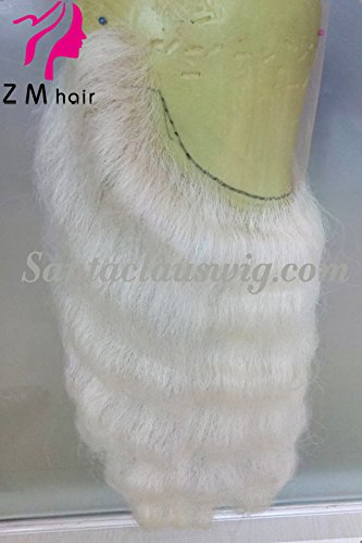 Snow White Yak Hair Professional Deluxe Hand Knotting Lace Santa Claus Beard (Wave)