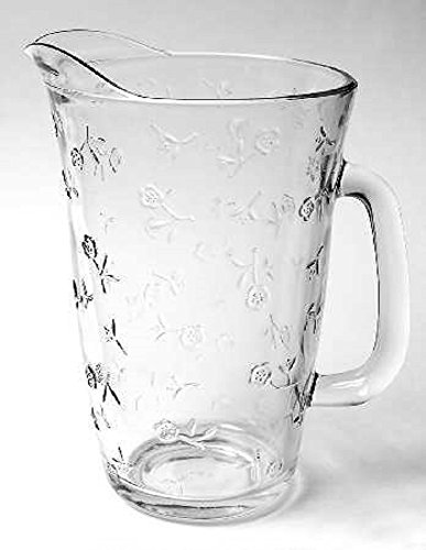 [Anchor Hocking Savannah Clear Glass Pitcher with Pressed Roses 72 Oz.] (Eapg Crystal)
