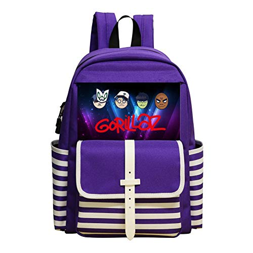 G-orillaz Virtual Band Music Videos Rock Hip Hop Backpack Nautical Striped School Bookbags Rucksack Satchel for Teens Girls