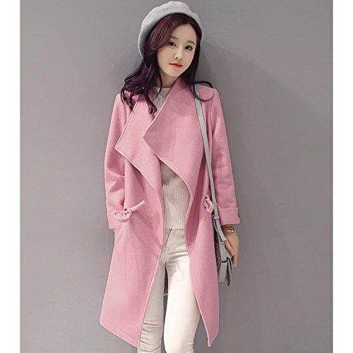Sumchimamzuk Damen Mantel Trenchcoat Herbst Winter Wasserfall Mantel Lang Jacke Rosa