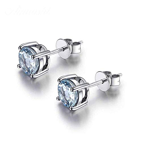 PLLP Novelty Jewelry-925 Sterling Silver Women Round Solitaire Stud Earrings Blue Created-Topaz December Birthstone
