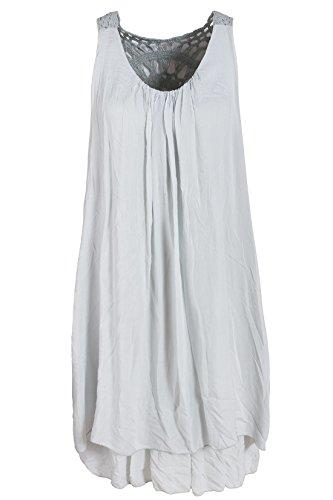 Gris Italienische Robe Mode Femme Tunique qwnnAFOX