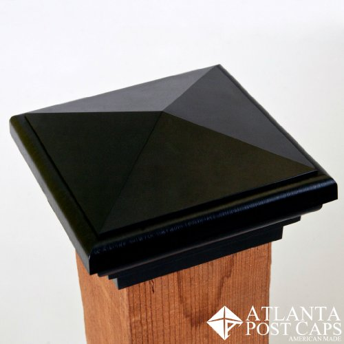 4x4 Post Caps (Nominal) Black Pyramid Top (Case of 12) - With 10 Year Warranty