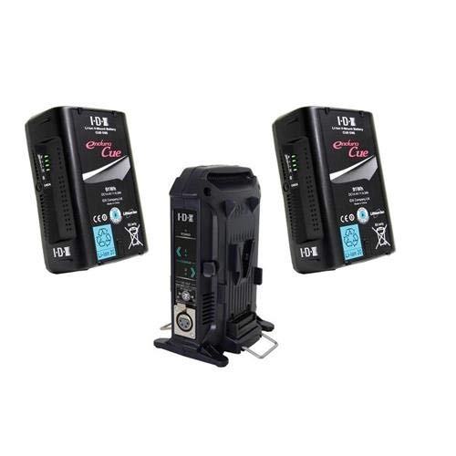 IDX 2 Pack Endura Cue 91Wh V-Mount Li-ion Battery with D Tap Output VL-2X 2-Channel Charger for V-Mount Li-Ion/Ni-Cad Batteries (Batteries Sanyo Nicad)