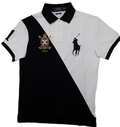 Polo Ralph Lauren Men's Custom Fit Big Pony Banner Polo Shirt (M, White Multi)