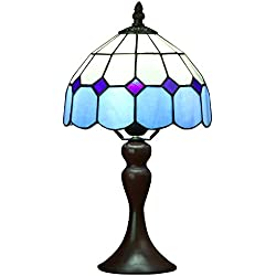 Bieye L10468 15 inch Mediterranean Tiffany Style Stained Glass Table Lamp