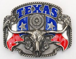 TEXAS Longhorn Belt Buckle State Flags Flower - Texas Flag Belt Buckle
