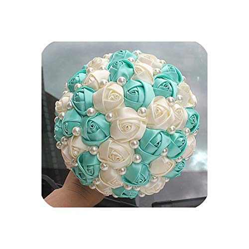 (Pure Handmade Mint Green Pearl Beaded Bridal Bouquet Simple Hand Holding Bow Flowers Wedding Bouquet W322-1,Mint Green 18c)
