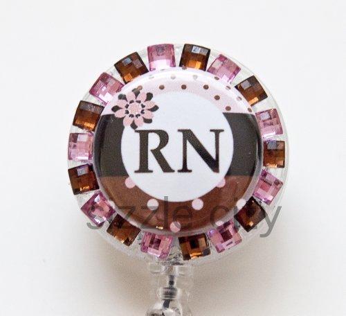 Pokodot Pink Brown RN Logo Nurse Rhinestone Retractable Badge Reel/ ID Badge Holder