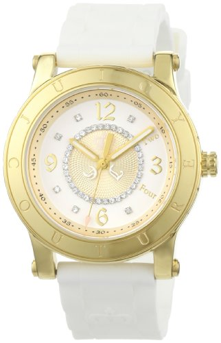Juicy Couture Women's 1900773 HRH Gold-Tone Steel Case White Jelly Strap Watch