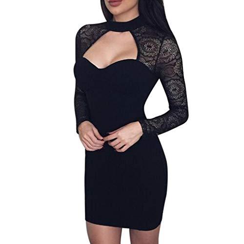 HYIRI Fashion Womens Sexy Bodycon Dress Ladies Club Party Long Sleeve Lace Mini Dress v