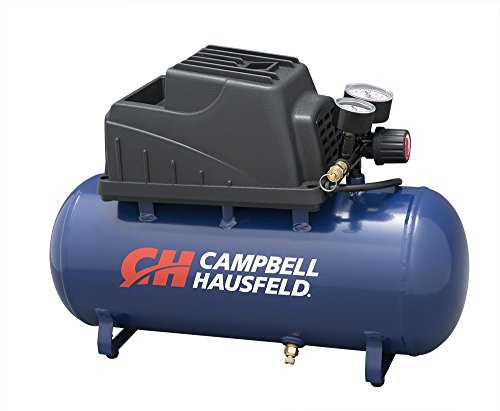 Campbell Hausfeld Air Compressor, 3-Gallon Horizontal Oilless with 10 Piece Kit .36 CFM .33HP 120V...
