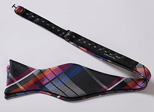 HISDERN Mens Plaid Jacquard Woven Self Bow Tie Set