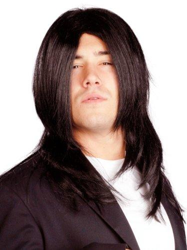 Enigma Wigs Men's Rocky Long, Black, One Size (Rocky Wig)