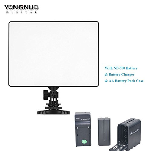 Yongnuo YN300 Air LED Video Light Ultra Slim Continuous Photography Panel + NP-F Battery + Battery Charger + AA Battery Pack Case Replace of NPF Battery for Studio Vlog YouTube Canon Nikon Sony GoPro by Bestshoot